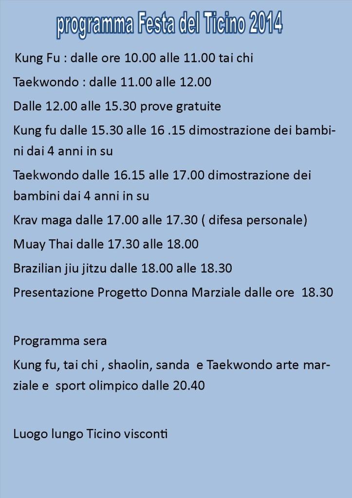 Programma festa ticino 2014